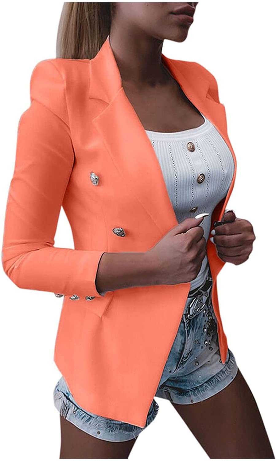 Xinantime Women's Trendy Button Down Jacket Long Sleeve Pure Color Slim Blouse Ladies Temperament Blazer with Pocket
