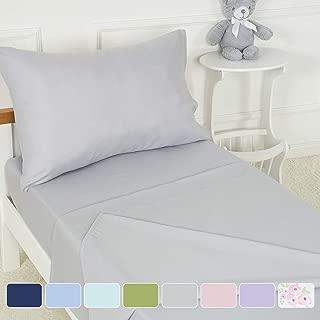 TILLYOU 3-Piece Microfiber Toddler Sheet Set (Silver Gray, Fitted Sheet, Top Flat Sheet and Envelope Pillowcase) - Silky Soft Crib Sheets Set Toddler Bed Set - Baby Bedding Sheet & Pillowcase Sets