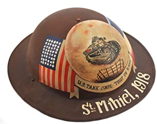 World War Supply US M1917 Brodie Helmet Doughboy Helmet Custom Painted Tank Corps 1918.