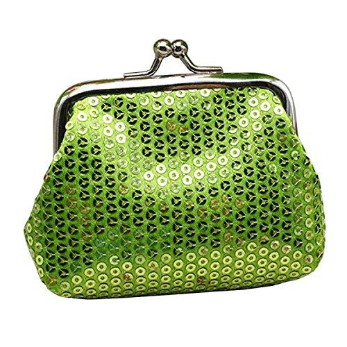 Sanwood - Mini portafoglio da donna con paillettes Verde Etichettalia unica
