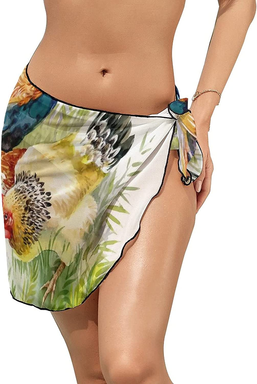 JINJUELS Women Beach Wrap Skirts Watercolor Chicken Rooster Personalized Bikini Swimwear Beach Cover Up