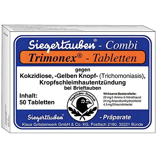 SIEGERTAUBEN - Trimonex Combi Tabletten - 50 Stück - wirkt gegen Trichomonaden (Gelber Knopf), Kokzidien und Kropfschleimhautentzündung