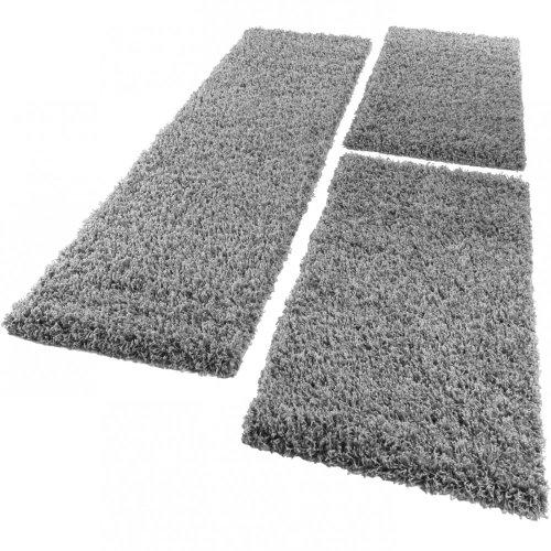 Paco Home Bettumrandung Läufer Shaggy Hochflor Langflor Teppich in Grau Läuferset 3Tlg, Grösse:2mal 60x100 1mal 70x250