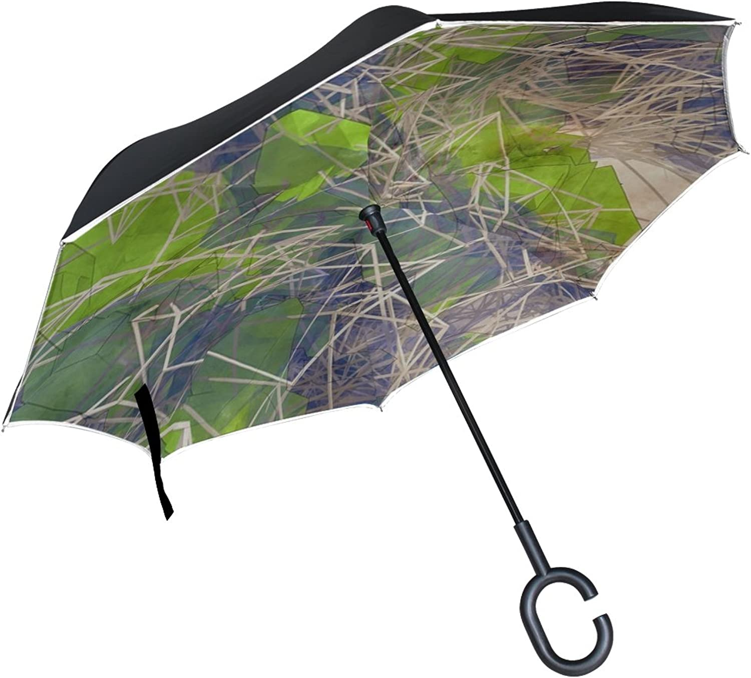 Double Layer Ingreened Abstract Glass Render Wire Wire Frame Cage Green Umbrellas Reverse Folding Umbrella Windproof Uv Predection Big Straight Umbrella for Car Rain Outdoor with CShaped Handle