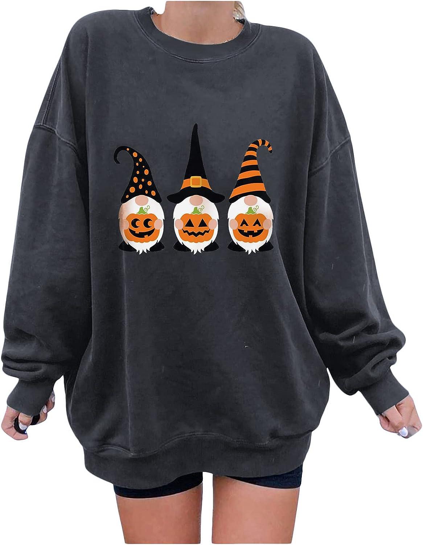 Women's Halloween Long Sleeve Sweatshirts Casual Cute Dwarf Print Tunic Tops Soft Loose Crewneck Pullover
