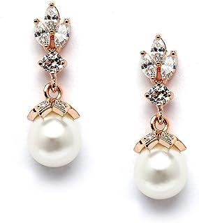 Brolite Gemstone Caroline And Pearl Rose Gold Handmade Jewelry Ear Wire Earring Beautiful Jewelry Brazel Drop And Dangle Earring