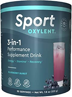 Oxylent Sport 3-in-1 Performance Supplement Drink - Sugar-Free, Effervescent, Easy Absorption of Vitamins, Creatine Minerals, Natural Energy, Supports Stamina, Blueberry Burst Flavor, 7.8 Ounce