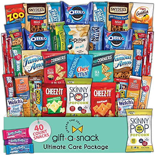 Snack Box Variety Pack (40 Count) Fathers Day Gift Basket for Dad - College Student Care Package, Prime Food Arrangement, Candy Chips Cookies Bars - Birthday Treat for Women, Men, Adults, Kids, Teens