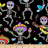 Timeless Treasures Dancing Day of The Dead, Yard, Bright