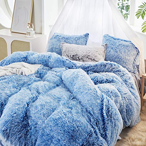 Uozzi Bedding Luxury Plush Shaggy Flannel 1 PC Duvet Cover 1 Twin Faux Fur Duvet Cover No Inside Filler Zipper Closure Warm and Soft for Blue with Pink & White Fur Style