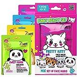 Set Regalo Funny Beauty Kit di 7 Maschere Viso in Tessuto per Cura della Pelle Idea Regalo per Donne Ragazze Adolescenti Amiche