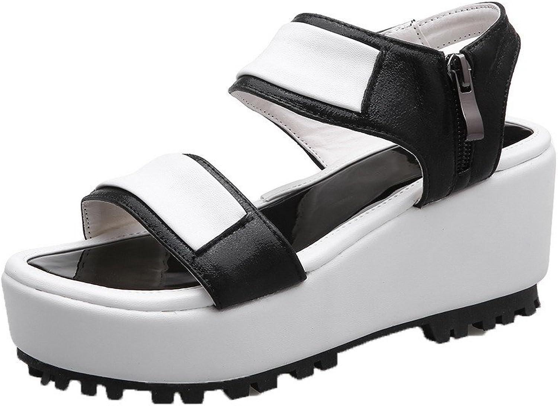 AllhqFashion Women's Soft Material High-Heels Zipper Assorted color Sandals
