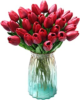 Teyssor 20 pcs Artificial Tulip Flowers Bouquet Real Touched Faux Flowers Tulips Arrangement Bouquet for Home Party Office Garden Wedding Hotel Decoration (Wine Red)