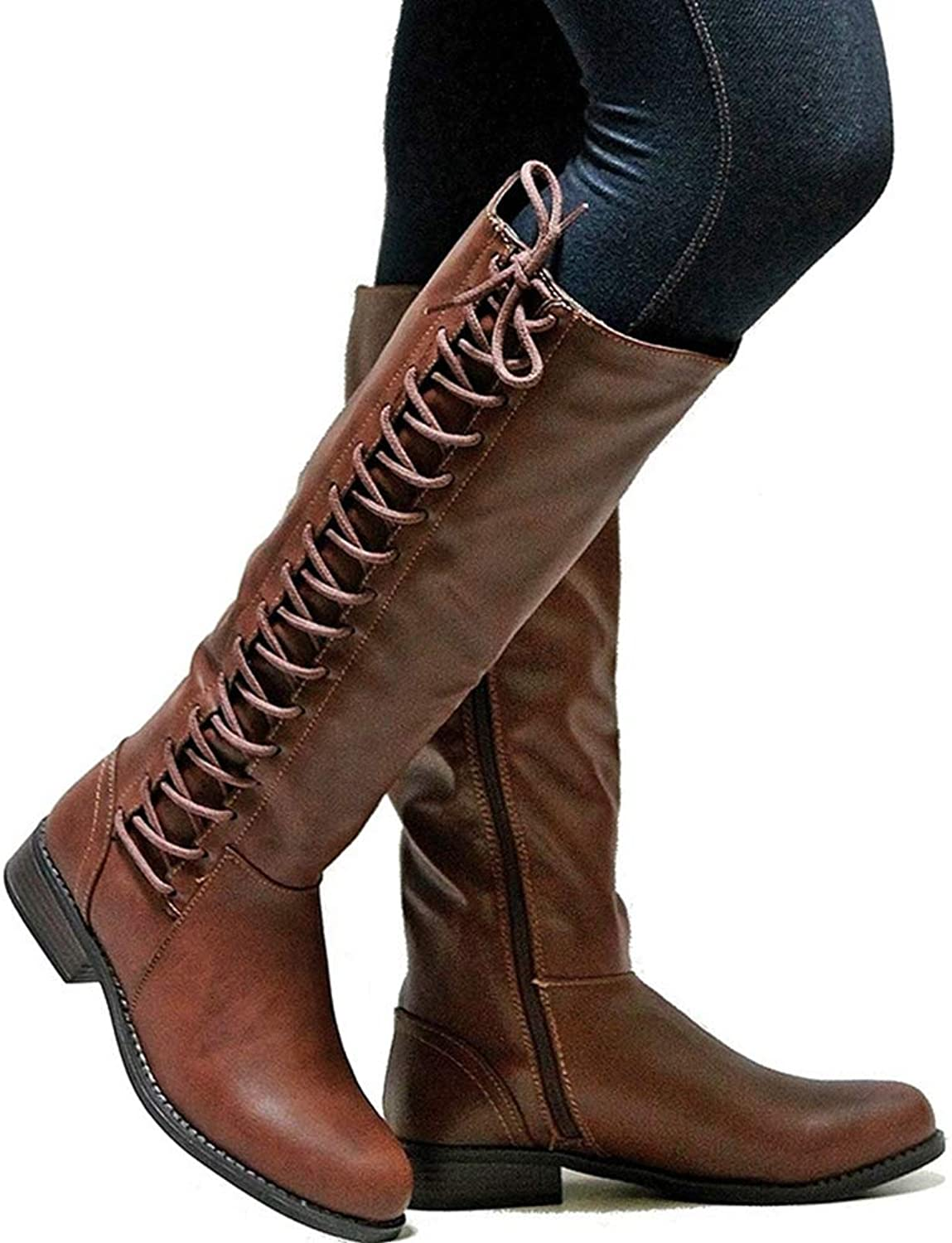 Womens Vintage Autumn Winter Round Toe Lac- Up Square Low Heel Military Riding Combat Martin Mid Calf Boots