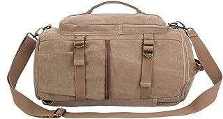 Eurosport Versatile Canvas Computer Bag Duffel Backpack Adjustable Straps Padded Khaki B718