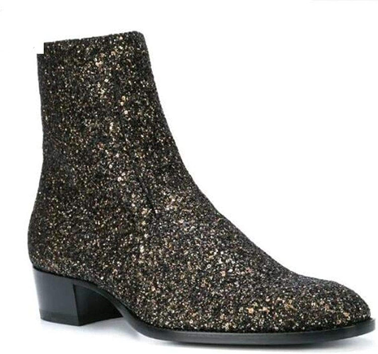 Newstarshop Genuine Leather Bling gold Men Fashion Chelsea Boots Low Heel Side Zipper Top Ankle Boots shoes