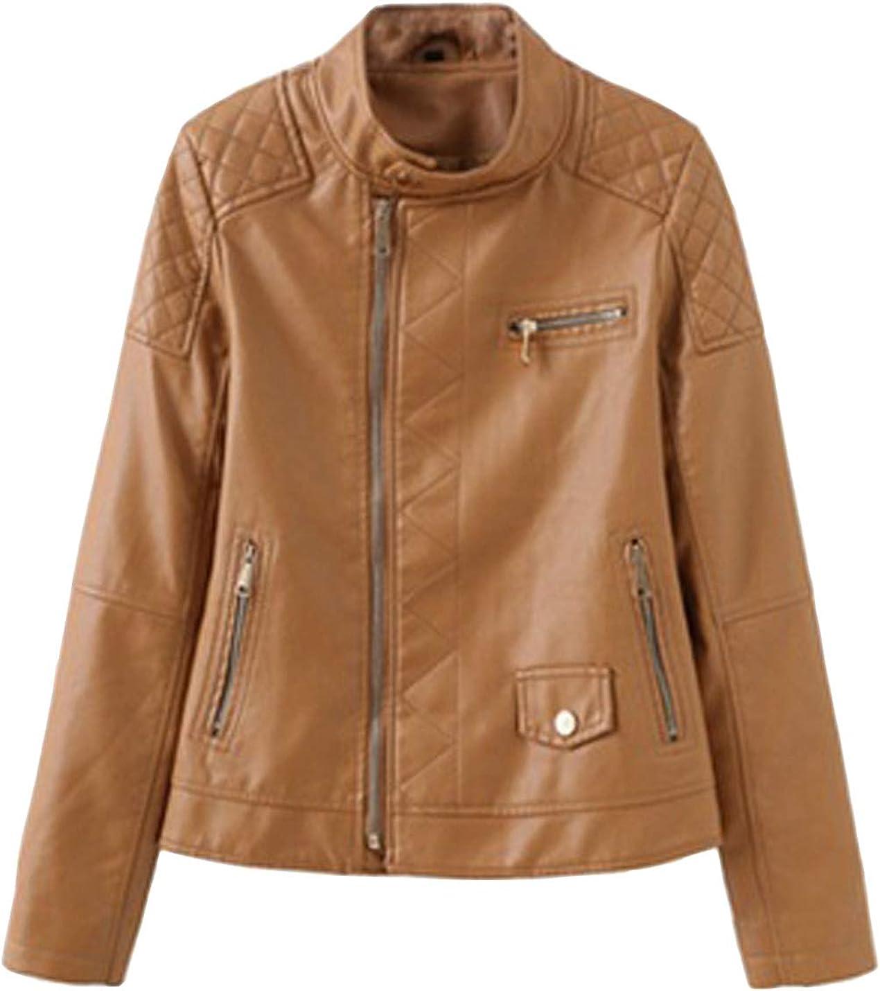Gihuo Women's Faux Leather PU Motorcycle Biker Jacket Outerwear