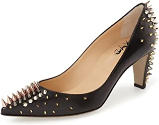 Evening Superb Dress Shoes Pointed Toe T-Strap Chunky High Heel Studded Sandals for Women