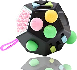 VCOSTORE 12 Sided Fidget Cube, Dodecagon Fidget Toy for Children and Adults, Stress and Anxiety Relief Depression Anti for All Ages with ADHD ADD OCD Autism (Black)