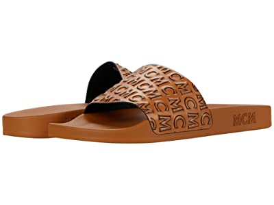MCM Logo Group Slide Sandal (Cognac) Men