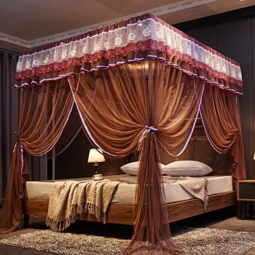 KE & LE klamboe in prinsesstijl om op te hangen, decoratie met 4 hoeken bedgordijnen vliegennet slaapkamer voor volwassenen meisjes boys muggennet tent