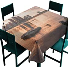 Warm Family Detroit Polyester Tablecloth Idyllic Sunset View with High Rise Buildings Riverfront Rocks Calm Peaceful Indoor Outdoor Camping Picnic W70 x L70 Coral Dark Brown