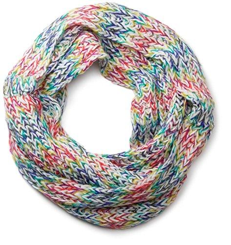 styleBREAKER bunter Grobstrick Loop Schlauchschal, Winter Strickschal, Schal mehrfarbig, Unisex 01018110, Farbe:Weiß