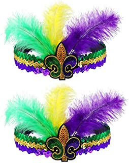 Mardi Gras Headband Feather Sequin Headband for Masquerade Women's Costumes Headwear Hair Clip (Yellow&Purple&Green)