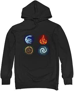 JUST Men's Avatar The Last Airbender Elements Symbols Hoodie