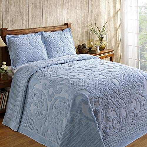 Better Trends Ashton Collection in Medallion Design 100% Cotton Tufted Unique Luxurious Machine Washable Tumble Dry, King Bedspread, Blue