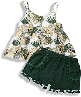 Toddler Girls Summer Short Set Halter Sling Ruffle Top+Green Tassel Pineapple Pompoms Pants Summer Clothes Outfit