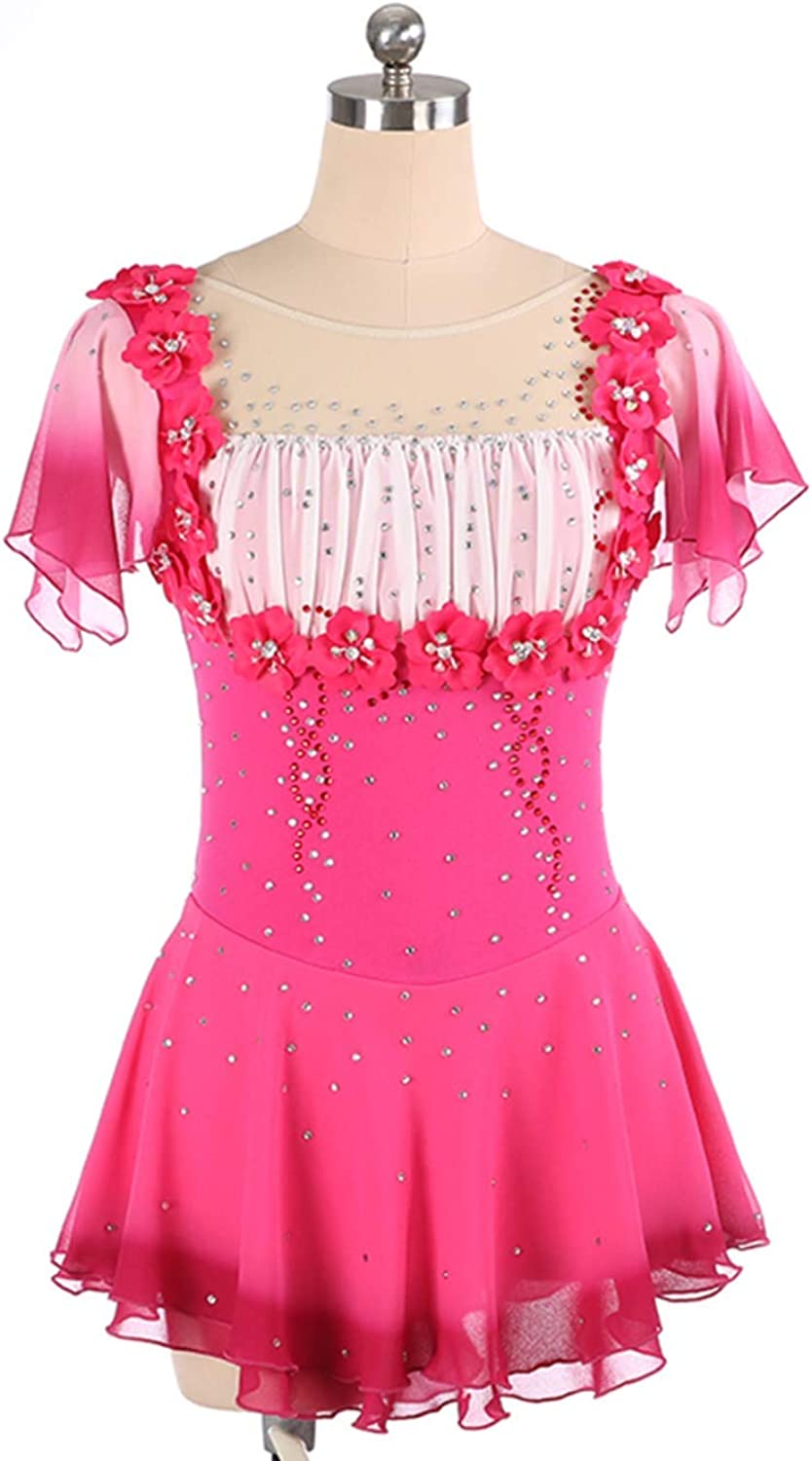 Heart&M Ice Skating Dress Girls, Handmade Figure Skating Competition Professional Costume Crystals Short Sleeved Skating Dress Fuchsia