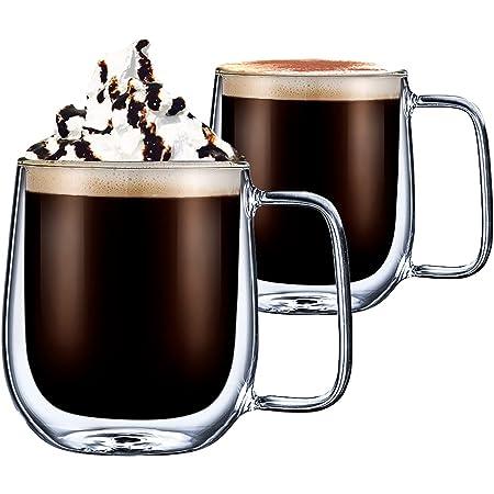 CMXING Tasse Double Paroi Verre, Mug Verre Café Borosilicate avec Poignée pour thé, Cappuccino, Lait, Jus, Set de 2 (300ml)