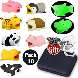 Animal Buddies Phone Cord Bites, Cute Animals Bite Cable Protector for IPhone, Cell Phone Accessories & Bites Data Line (10 Pieces with 2 Glowing Style) Bonus: Mobile Storage Box & Cell Phone Holder
