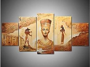 Jia Arte ™ Handmade 5 Piece Yellow Modern Abstract Oil Paintings On Canvas Wall Art Egyptian Pictures For Living Room Home Deocr 150 x 80 CM - 5 Fotos Impresas En Lienzo Pintura Arte De La Pared Mura