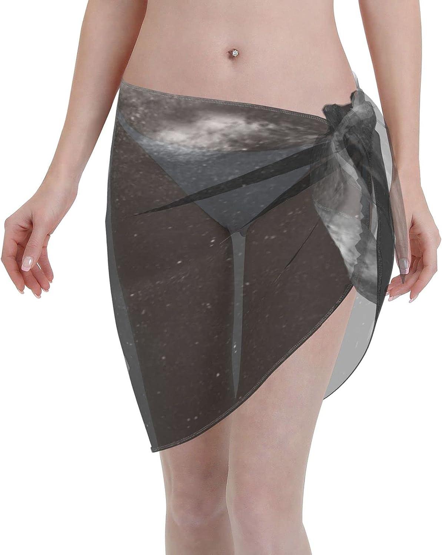 Ccacmt Black White Galaxy Light Women Short Sarongs, Beach Wrap Sheer Bikini, Wraps Chiffon Cover Ups for Swimwear One Size Black