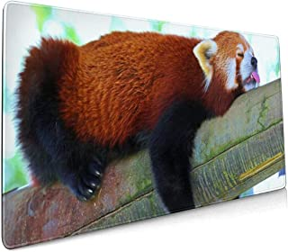 Large Gaming Mouse Pad Sleeping Red Panda, Rubber Base Waterproof Soft Non-Slip with Stitched Edge,Mouse Mat for Gamer, Office & Home, for Laptop, Computer & PC, 15.8x35.5 Inches