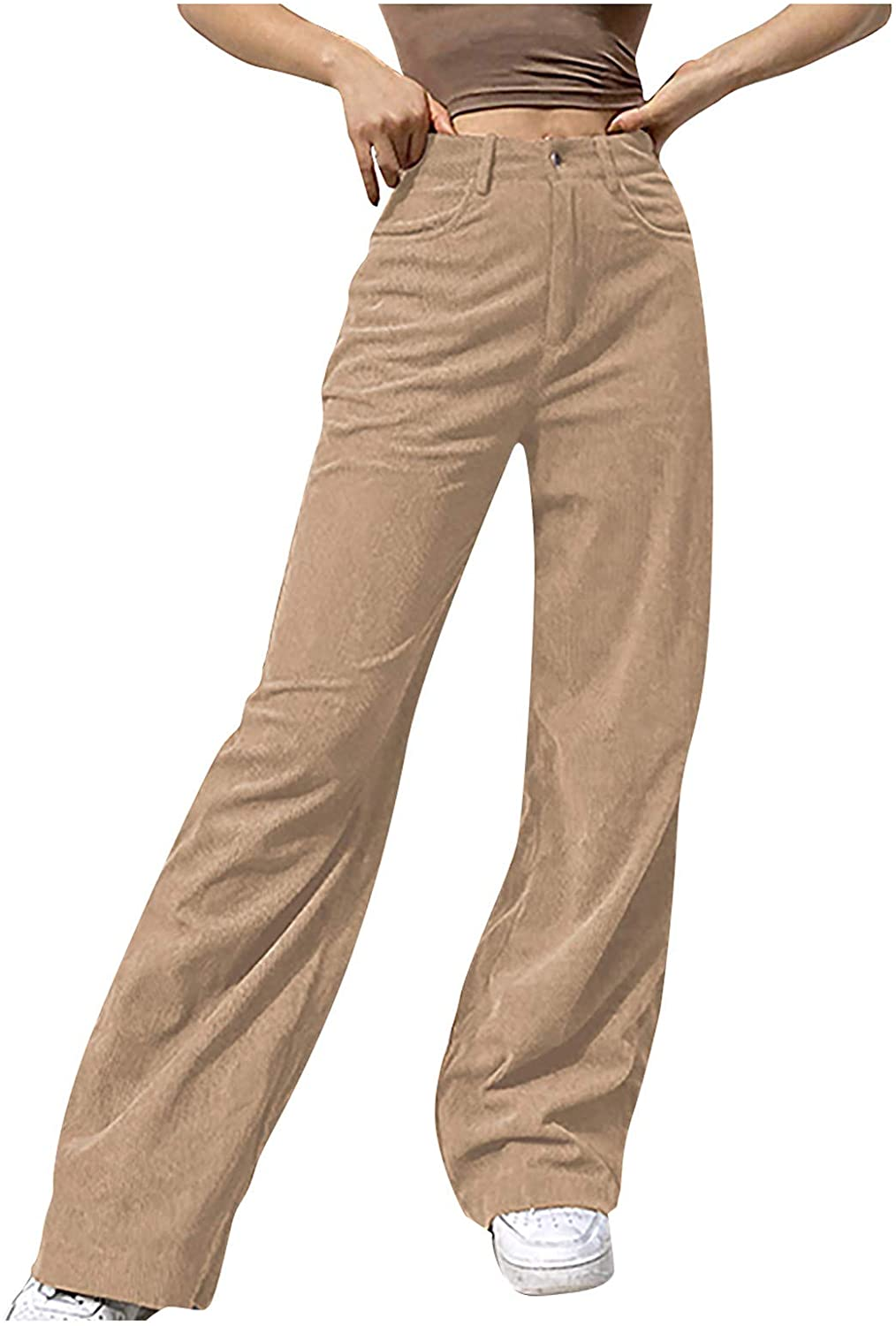NREALY Women Mid Waisted Wide Leg Straight free Casual Pants Solid Ba Fashion