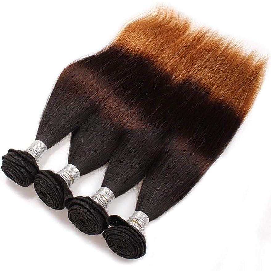 モスあなたはライトニングBOBIDYEE ブラジル人毛バンドルストレートウィーブ - #T1B / 4/27ブラックとダークブラウンのライトブラウン3トーンカラーオンブルヘアエクステンション(10
