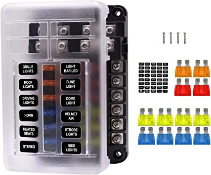 12 ways blade fuse box 24 volt fuse block 12 circuit negative bus with led  warning indicator damp-proof cover for automotive car boat bus touring car  with 16 pcs fuses fuses &  diagenics
