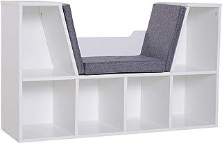 HOMCOM Bookcase Shelf Storage Seat with Cushion Sideboard Kids Children Reading Bedroom Living Room Organizer White