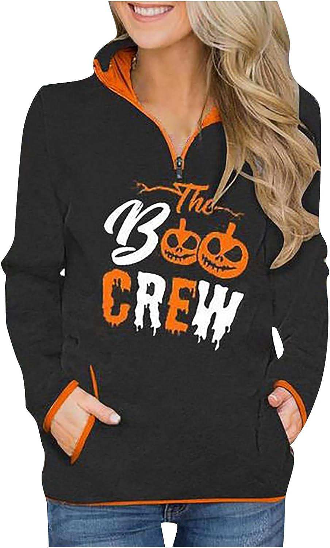 Womens sale Casual Quarter Zip Pullover Pri Halloween Pumpkin Hoodies Luxury goods