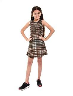 Kady Plaid Sleeveless Round Neck Above Knee Length Dress for Girls
