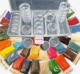 Rocailles 3mm Perlen 25 Farben (25x10g) + Box 25 DOSEN Basteln Set DIY B18AM53