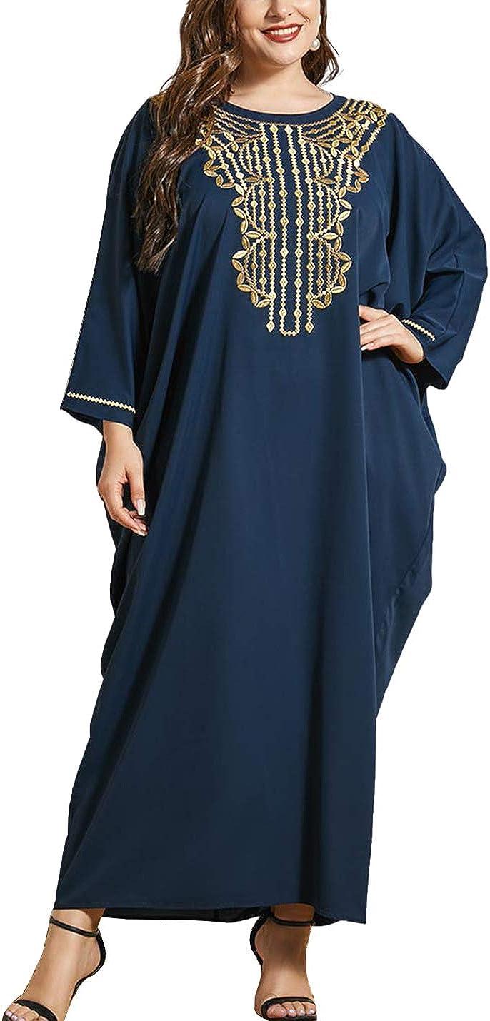 Flygo Women's Plus Size Splicing Floor Length Batwing Dolman Sleeve Round Neck Maxi Dress