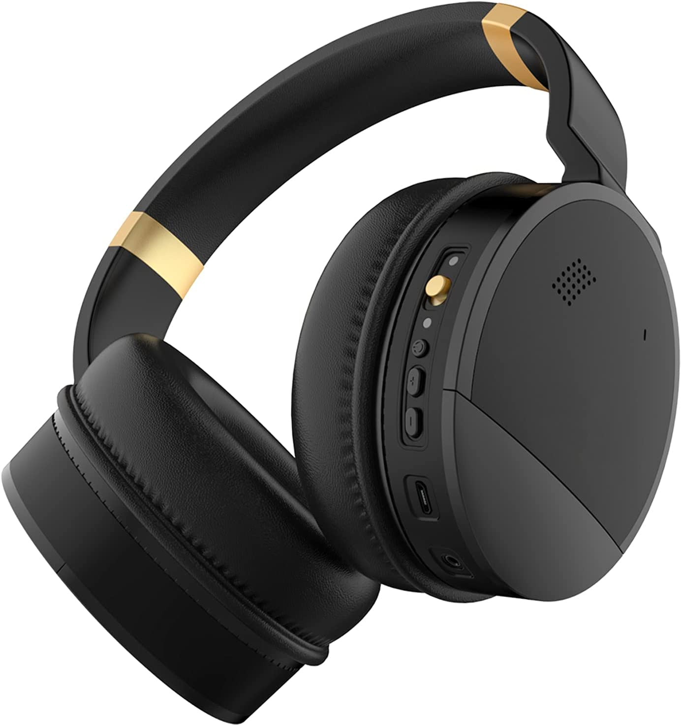 Qisebin E8 Active Noise Cancelling Wireless Headphones, Over-Ear Bluetooth Headphones with Deep Bass, Fit Comfort, Built-in Microphone, 25 Hours of Listening Time - Gold