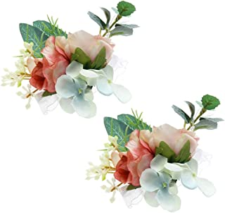 Febou Wrist Corsage 2 Packs Wedding Bridal Wrist Flower Wristband Hand Flower for Bride Bridesmaid Perfect for Wedding, Prom, Party (Wrist Flower, N-Pink)