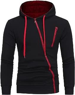 Sunhusing Men's Solid Color Long-Sleeve Hooded Pullover Sweater Diagonal Zipper Pocket Casual Sweatshirt Coat