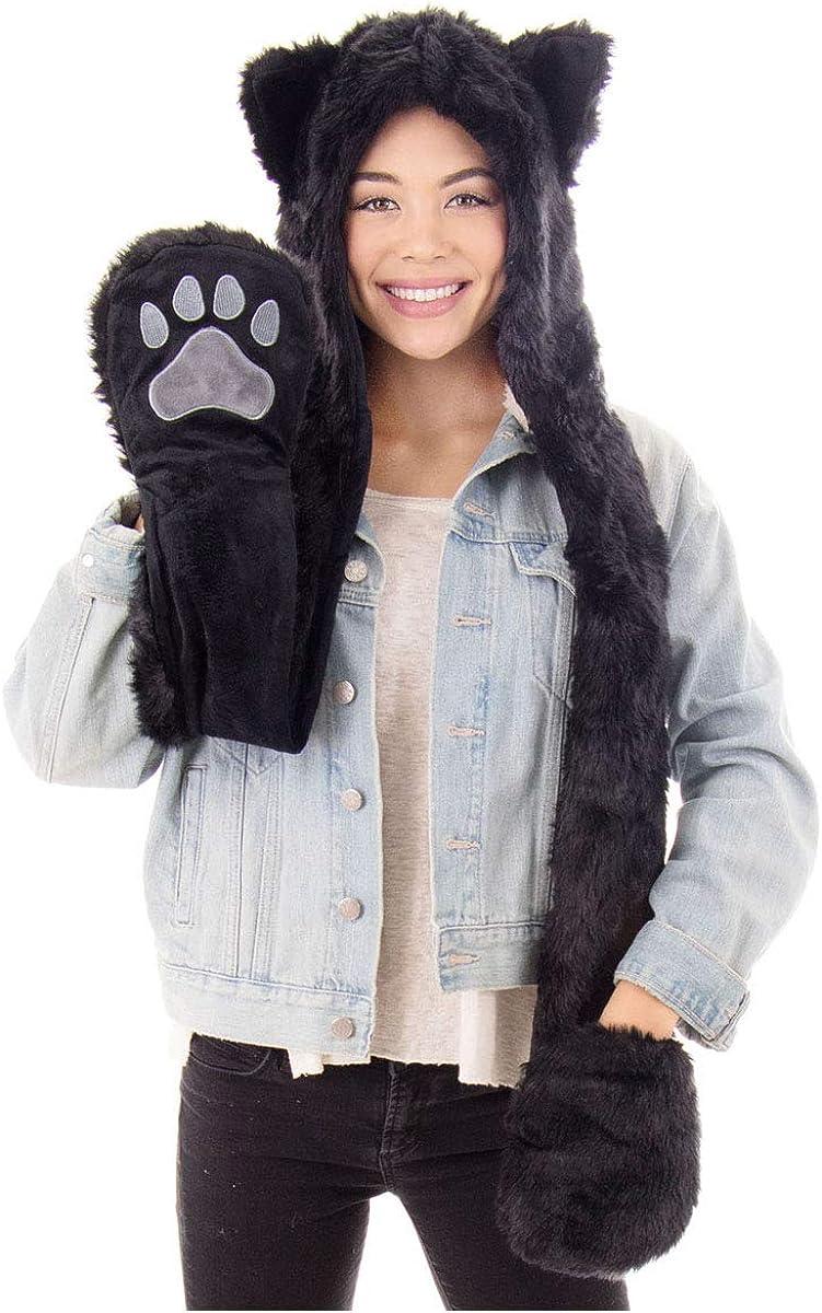Animal Hood Scarf 3-in-1 Women Faux Fur Plush Winter Hoodie Hats Scarf Ears Hat Gloves Mittens Pocket Earflap Long Scarf Shawl Wraps Neck Warmer Snood Hood Skull Beanie Cosplay Panda Hat with Paws