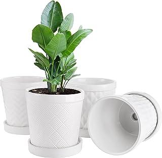 Suwimut Set of 4 Ceramic Plant Pot, 5.1 Inch White Cylinder Ceramic Planters for Succulents, Cactus, Flower, Indoor Succul...